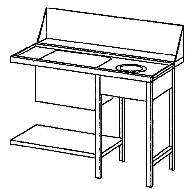 Tisch rechts m. Müllschacht