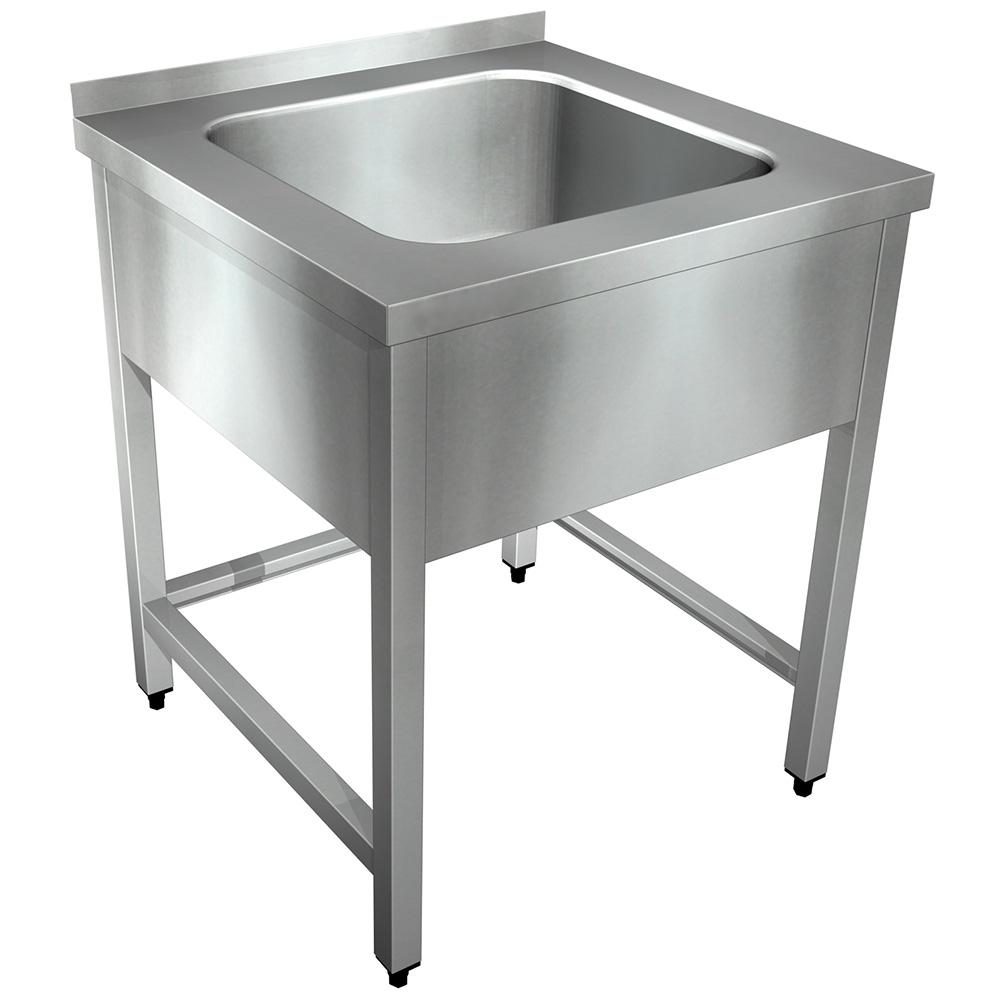 Edelstahl Spültisch ST B 700 x T 700 mm, 1 Becken mittig